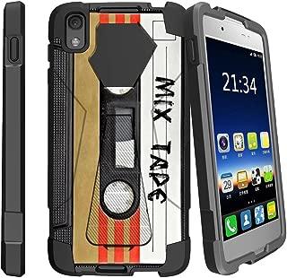MINITURTLE Compatible with Alcatel Idol 4, Alcatel Nitro 49 Kickstand Dual Layer Black Case - Mix Tape Retro