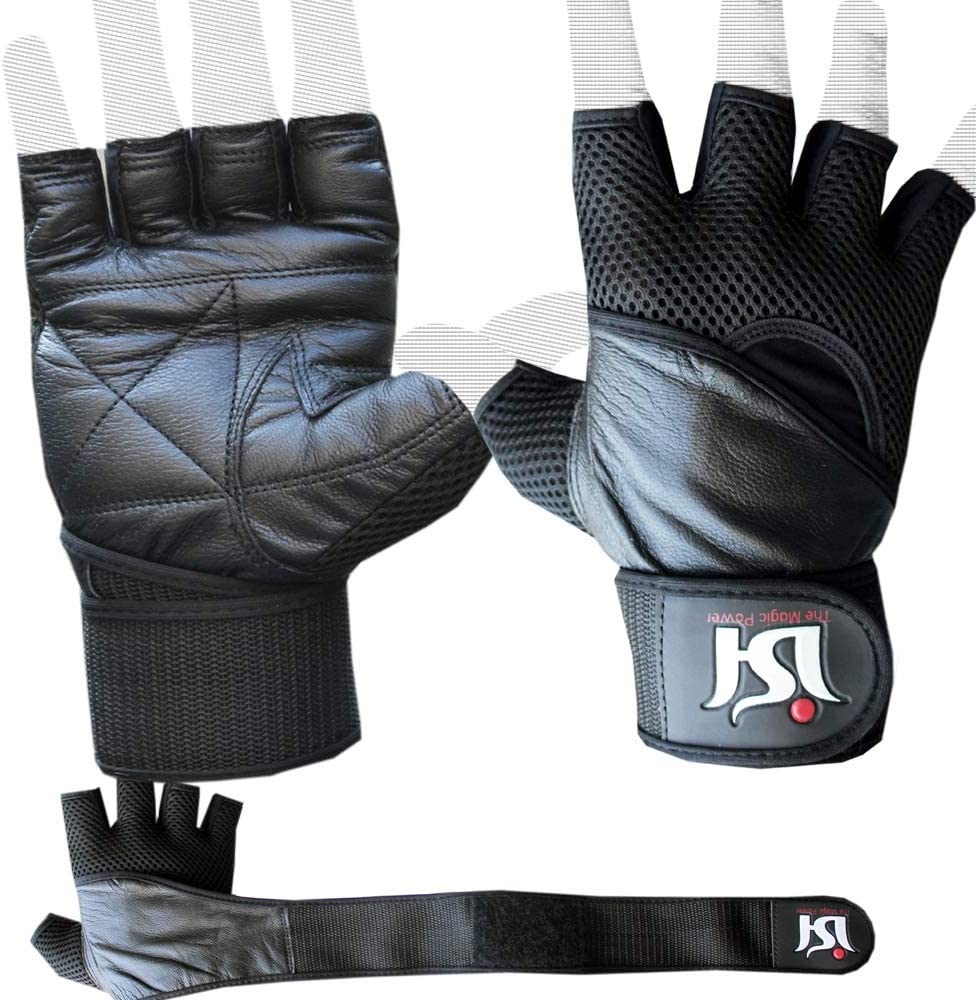ISH Sports Professional Leather Weight Lifting Gloves Gym Traini