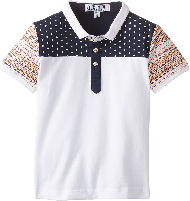 AXNY a.x.n.y Boys' Little Short Sleeve Polo Shirt Mini Polka