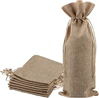 Burlap Wine Bags, Sdootjewelry Jute Wine Bag with Drawstring, Linen Wine Gift Bags, Wine Bottle Protector, Perfect for Travel, Wedding, Birthday, Housewarming and Dinner Party- Pack of 24