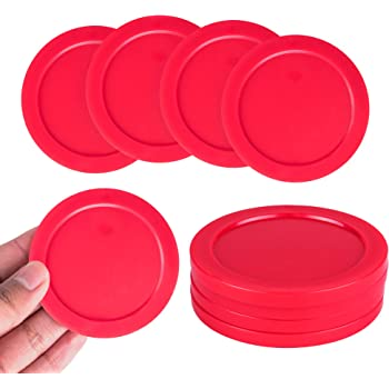 """Super Z Outlet Home Air Hockey Red Replacement 2.5"""" Pucks for Game Tables, Equipment, Accessories (4 Pack)"""