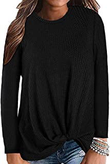 MarinaPrime Womens Waffle Knit Twist Knot Pullover Tops Loose Fitting Plain Shirts