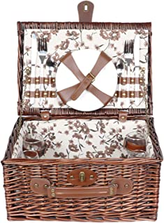 Retro Picnic Basket, with Lids and Double Lid Accessories and Built-in Refrigerated Compartment for Birthday Anniversary a...