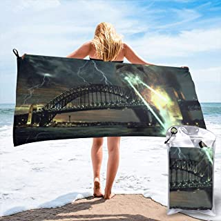 Kuyanasfk Beach Towel Explosion Laser Bear Sydney Harbor Bridge Microfiber Towel Sports & Travel & Beach Towels Quick Dry Towel Sand Free Towels Blanket for Kids & Adults 27.5
