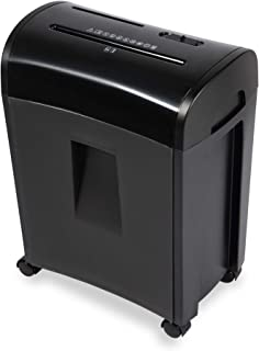 File Shredder - Shreds up to 10 Sheets of Paper; CDs, DVDs and Credit Cards; Cross-Cut, Particle-Cut; P4 Security Level, DIN Standard 66399, GDPR-Compliant, Black