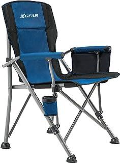 XGEAR Camping Chair High Back Folding Chair Hard Armrest...