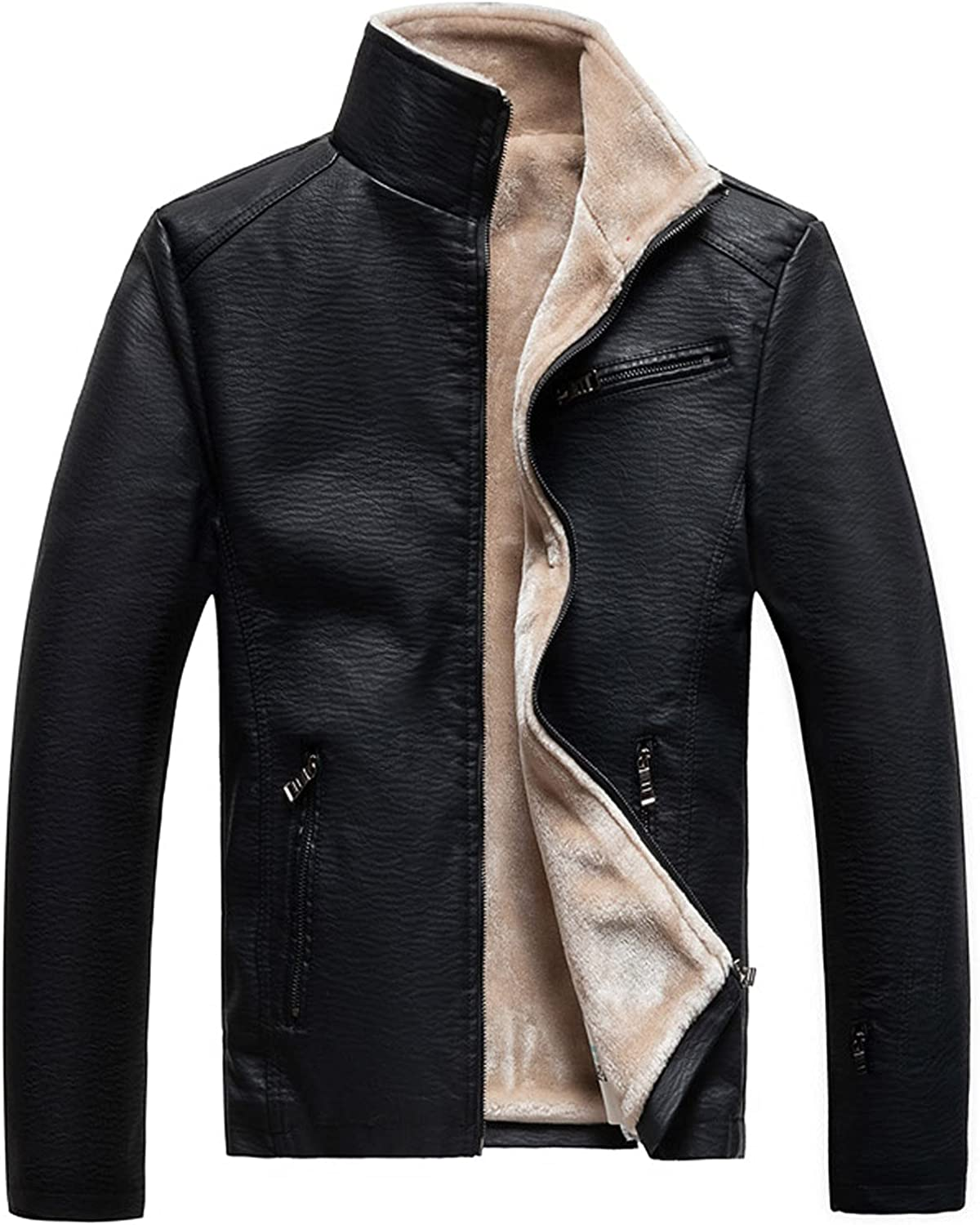 Men's Winter Plush Fleece Stand Collar Faux Leather Motorcycle Long Sleeve Jacket Zipper Design Pocket Outer Jackets