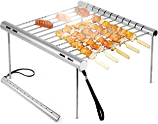 NASHRIO Portable Camping Grill, Folding Compact Stainless Steel Charcoal Barbeque Grill for Picnics, Backpacking, Backyards, Survival