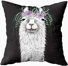 ROOLAYS Soft Pillow Case, Square Throw Pillowcase Covers 18X18Inch, Llama Floral Wreath Both Sides Farmhouse Decor Cushion