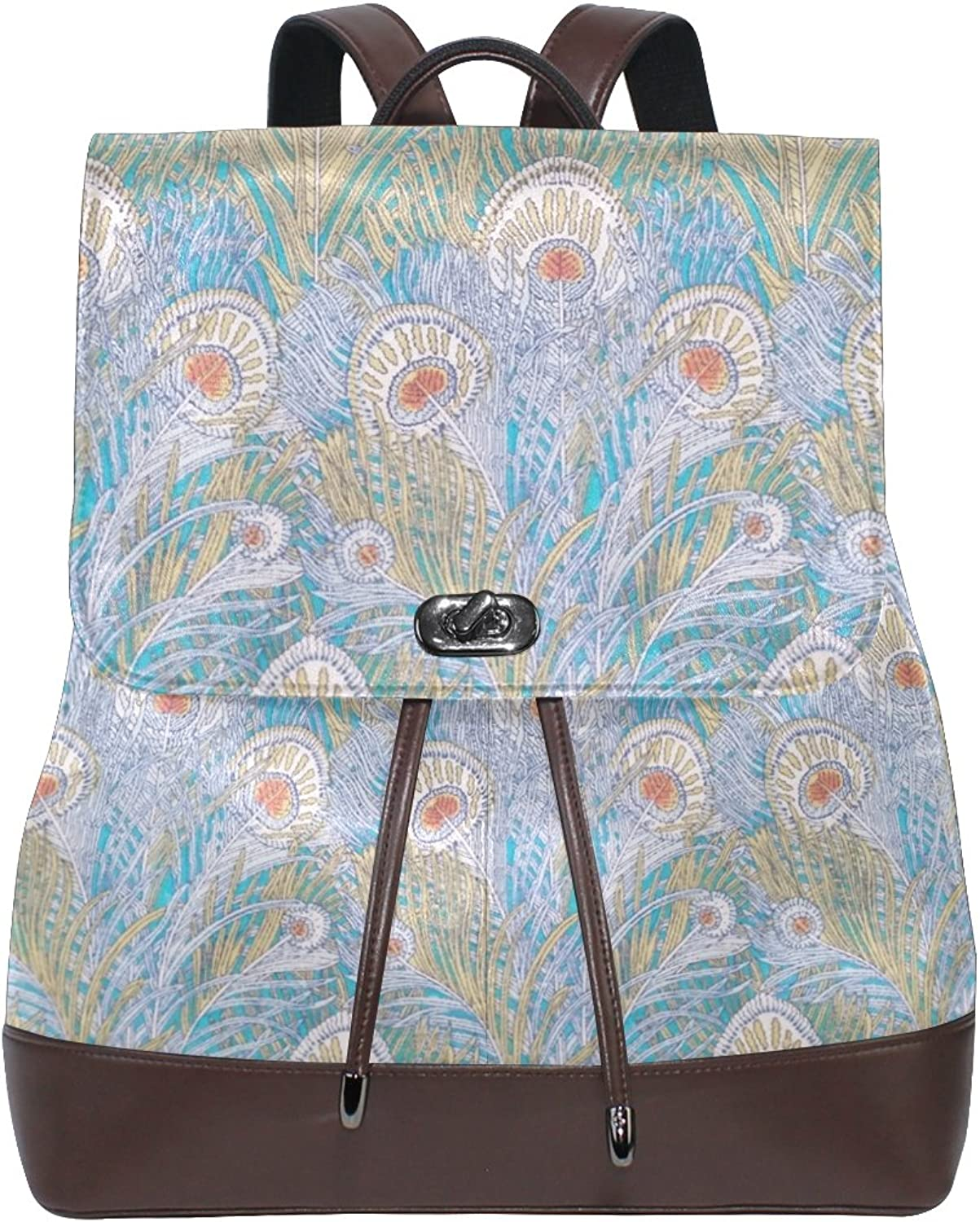 Imobaby Women's Liberty Peacock Feather Print Pu Leather Backpack Purse Ladies Casual Shoulder Bag School Bag for Girls,Ty1