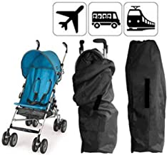 Gate Check Bag w Back Belt for Single Umbrella Strollers, Durable and Lightweight, Water-Resistant, Drawstring Closure with Adjustable Lock, Webbing Handle, Includes Stretch Zipper Pouch, Black