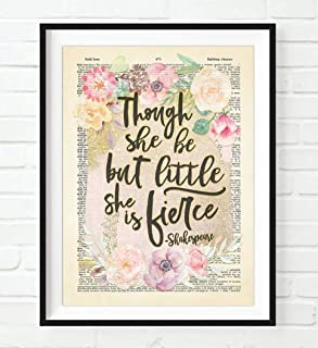 Though She Be but Little She is Fierce, William Shakespeare Quote Art Print, Unframed, A Midsummers Night's Dream Vintage Highlighted Dictionary Page Wall Art Decor Poster Sign, 8x10