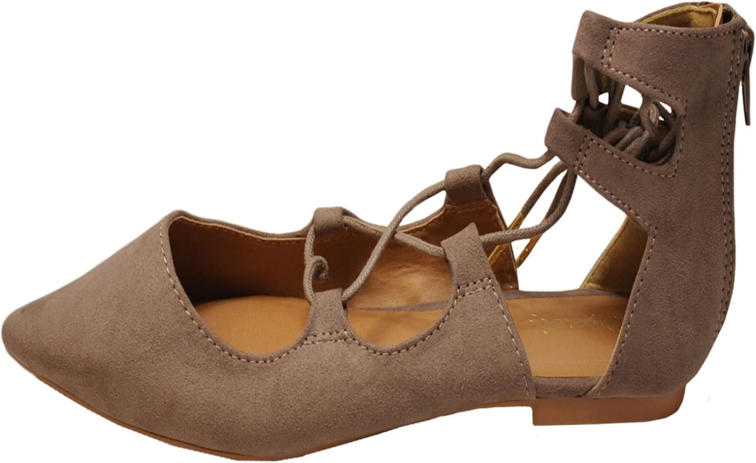 Qupid Philadelphia Mall Strike 01X Women's Perforated Flats Up Pointy Toe Mail order Lace