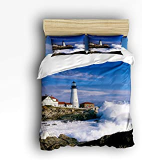 COVASA Luxury 4-Piece Bedding Set Lighthouse Beautiful City and Town Scenery Sea Wave Duvet Covers Set Duvet Cover Bed Sheet Pillow Cases Twin Pattern