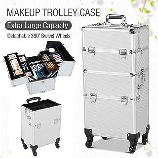 Yaheetech 2-wheel 3-in-1 Professional Multifunction Artist Rolling Trolley Makeup Beauty Train Case Cosmetic Organizer W/shoulder Straps (Silver)