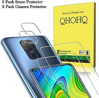 QHOHQ 2 Piezas Protector de Pantalla para Xiaomi Redmi Note 9 con 2 Piezas Protector de Lente de Cámara, Cristal Templado Membrana, [9H Dureza] - HD - [Anti-Arañazos]