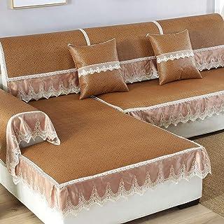 LH sommar matta soffa set europeisk halkfri glass bambu rotting kudde modern spets soffa handduk 90 × 210 cm (färg: A, sto...