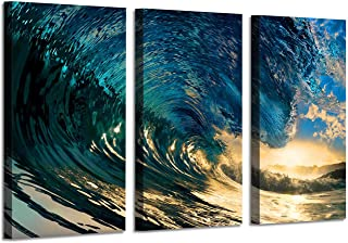 Ocean Picture Canvas Wall Art: Waves Painting Seascape Artwork Prints for Office Living Rooms(34