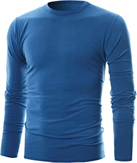 GIVON Mens Slim Fit Soft Cotton Long Sleeve Lightweight Thermal Crew Neck T-Shirt