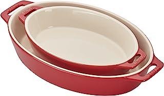 STAUB Ceramics Oval Baking Dish Set, 2-piece, Cherry