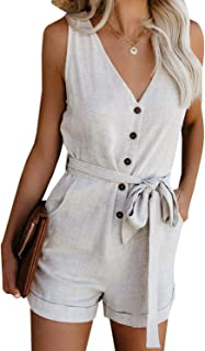 Women's V Neck Jumpsuits Casual Sleeveless Romper Button...