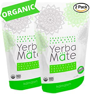 Kalmateh Yerba Mate - Traditional Organic Unsmoked Loose Leaf & Stem Tea - Rich in Antioxidants – Energy Boost, Improves Focus - 2 lb - Set of 2