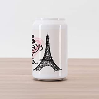 Ambesonne Eiffel Tower Cola Can Shape Piggy Bank, Lettering in Heart Modern Europe Dream Tour Sketch Illustration, Ceramic Cola Shaped Coin Box Money Bank for Cash Saving, Cream Pink Black
