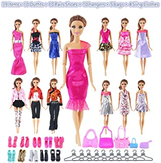 UCanaan 39Pcs Doll Clothes and Accessories for 11.5'' Barbie Dolls (Includes 10 Set Random Pattern Casual Fashion Dresses + 10 Pairs Shoes + 10 Hangers + 5 Pcs of Bags + 4 Sling Clothes)