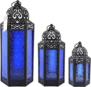 Moroccan Style Candle Lanterns, Cobalt Blue Glass, Set of 3