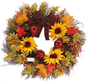 Fall Wreath with Maple Leaf, Berry, Sunflower and Apple, Fall Front Door Wreath for Front Door Decor Thanksgiving Harvest Autumn Home Decororation