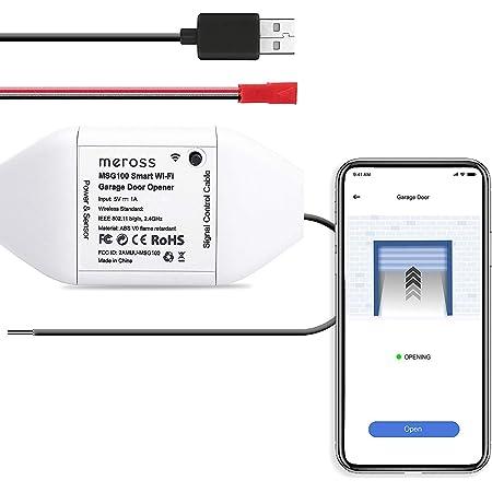 meross Smart Garage Door Opener Remote, APP Control, Compatible with Alexa, Google Assistant and SmartThings, Multiple Notification Modes, No Hub Needed, Non-Homekit Version