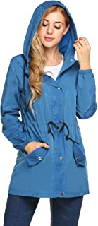 UNibelle Women Raincoat Lightweight Hooded Rain Jacket Outdoor Active Windbreaker Waterproof Trench Coats S-XXL