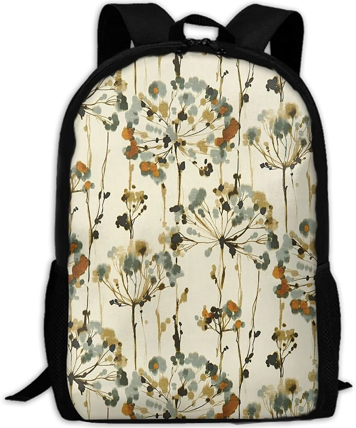 Adult Backpack Dark color Dandelion College Daypack Oxford Bag Unisex Business Travel Sports Bag with Adjustable Strap