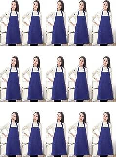 TSD STORY Total 15 PCS Plain Color Bib Aprons for Women Men Adult Bulk with 2 Front Pockets Deep Blue