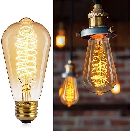 Brightown 6 Pack Edison Light Bulbs Vintage 60 Watt Incandescent Light Bulb E26 E27 Base Dimmable Decorative Antique Filament Lamp Bulbs for Indoor Wall Hanging Ceiling Light Fixtures Amber Warm