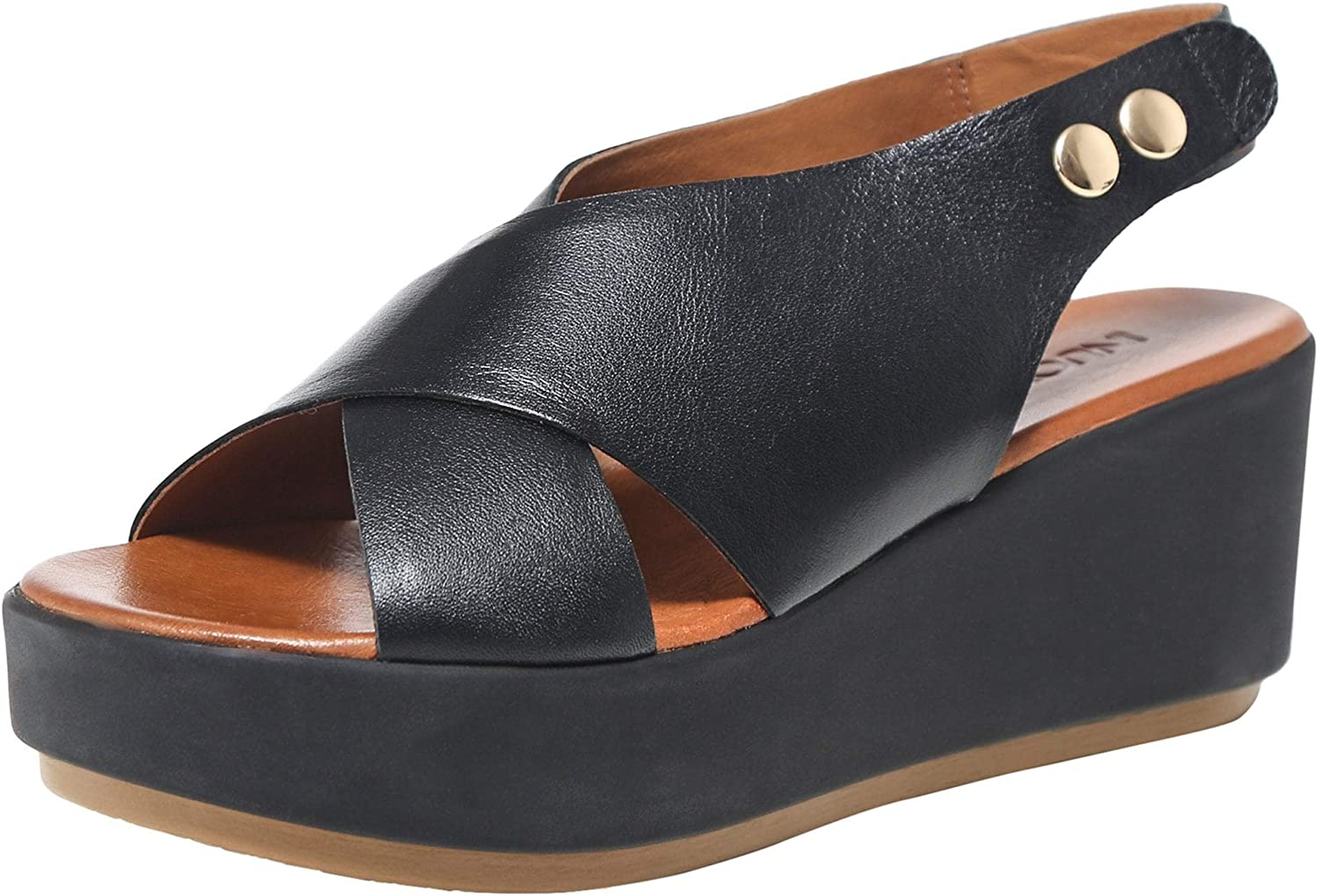Inuovo Women's Leather Slingback Sandals Black