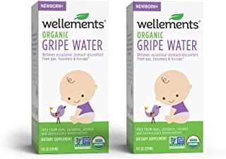 Wellements Organic Gripe Water for Tummy, 4 Fl Oz, 2 Count, Free From Dyes, Parabens, Alcohol, and Preservatives