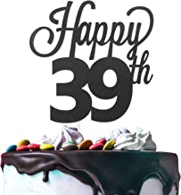 Happy 39th Birthday Black Glitter Cardstock Paper Cake Topper Cheers to 39 Years Old Bday Party Gift Photo Booth Sign Decoration - Premium Double Sided