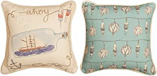 Kensington Row Coastal Collection Throw Pillows - Ship in A Bottle Reversible Throw Pillow #2-12
