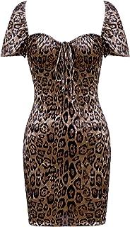 UONBOX Women's Cap Sleeves Off Shoulder Leopard Print Ruffle Tea Mini Dress
