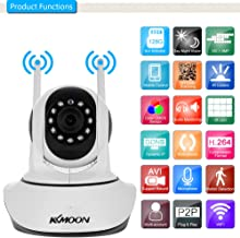 KKmoon 720P Wireless WIFI IP Camera Pan Tilt HD 1.0MP 1/4 Inch CMOS 3.6mm Lens Support PTZ Two-way Audio Night Vision Phone APP Control Motion Detection TF Card