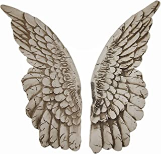 Zeckos Wings of Protection Pair of 11 inch Aged Finish Wall Hanging Angel Wings
