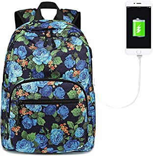BLUBOON School Backpack Teen Girls Bookbag Women Travel Laptop Daypack with USB Charge Port (Blue 0026)