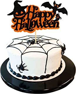 Ercadio 1 Pack Happy Halloween Cake Topper Assembled Glitter Bat Ghost Pumpkin Hat Halloween Cake Pick Decorations for Hal...