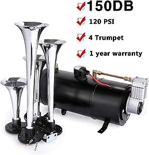 Schafter 150DB Air Horn Car Truck Train Chrome 4 Trumpet Train Air Horn 12V 150 PSI Compressor