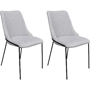 Homexperts 2er Set Stühle, Webstoff, Grau, Schwarz, 47x86x60