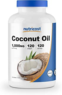Nutricost Coconut Oil Softgels (1000mg) 120 Softgels - Extra Virgin Coconut Oil - Gluten Free and Non-GMO
