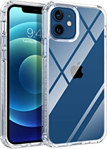 BENTOBEN iPhone 12 Mini Case Clear, Slim Fit Shockproof Hybrid Hard PC Soft TPU Bumper Drop Protection Girls Women Men Boys Rugged Phone Case Cover for iPhone 12 Mini 5G 5.4 inch (2020), Clear