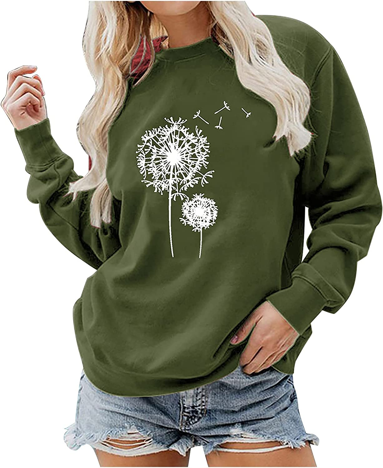 Women Casual Max 80% OFF Relaxed Sweatshirt Tops Printed Long Neck Special price for a limited time Sle Round
