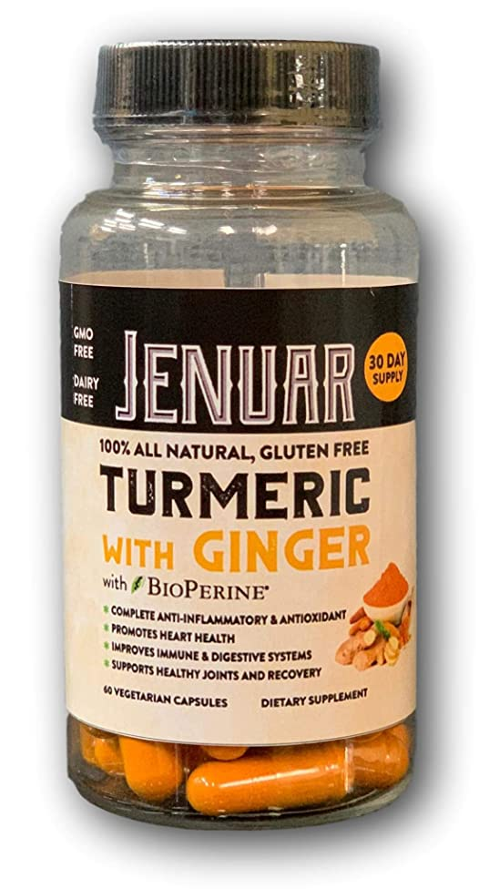 Jenuar Turmeric Curcumin with Ginger & Bioperine - Vegan Joint Paint Relief, Anti Aging, Anti-Inflammatory, Antioxidant Supplement with 10mg of Black Pepper for Better Absorption Non-GMO Natural
